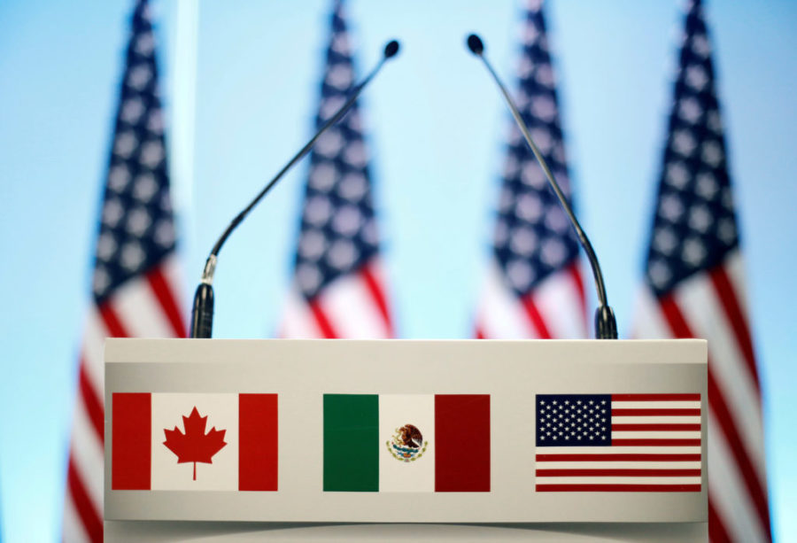 Canadian, Mexican, and American flags