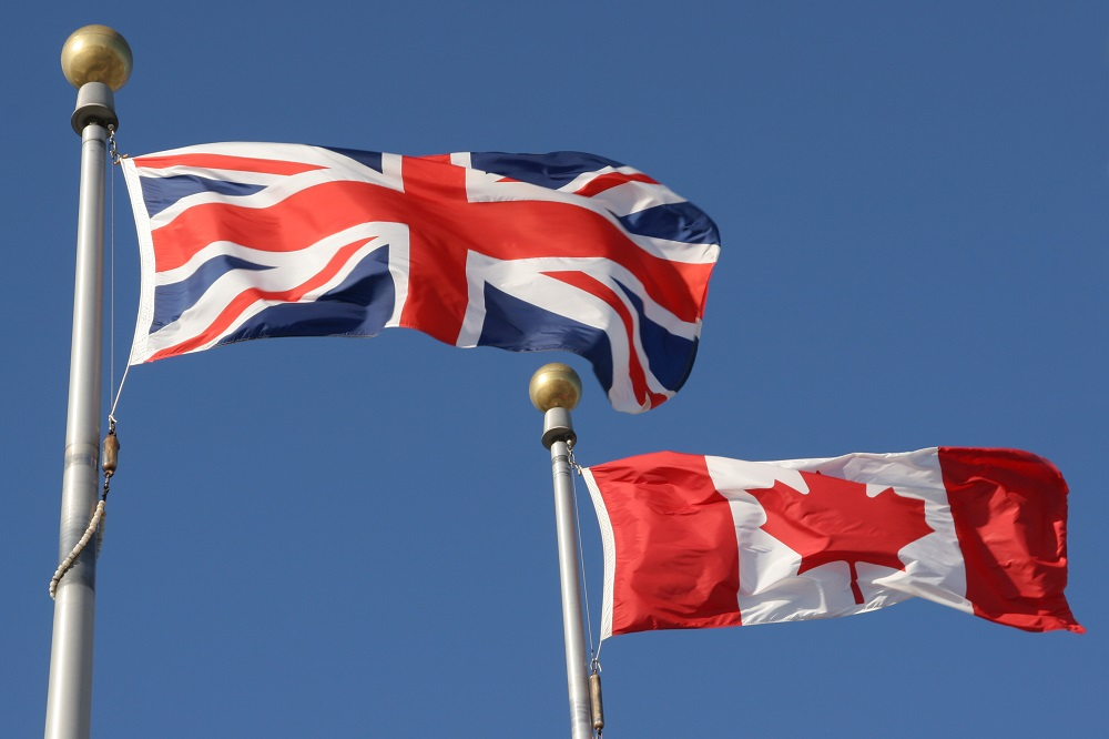 Canada and U.K. flags